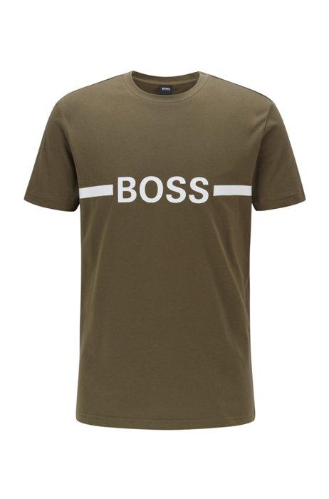 Slim-Fit T-Shirt aus Baumwolle mit LSF50+ und Logo, Grün