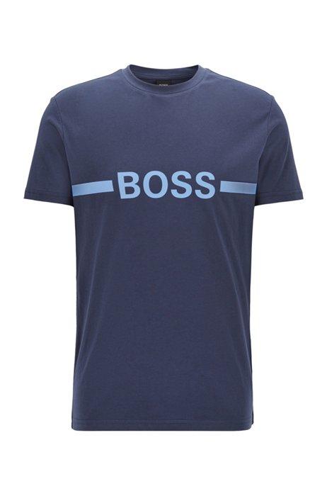 Slim-fit T-shirt in UPF 50+ cotton with logo, Dark Blue