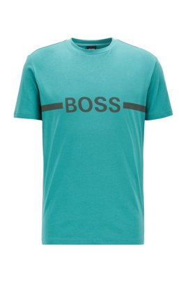Slim-fit T-shirt in cotton with sun protection, Turquoise