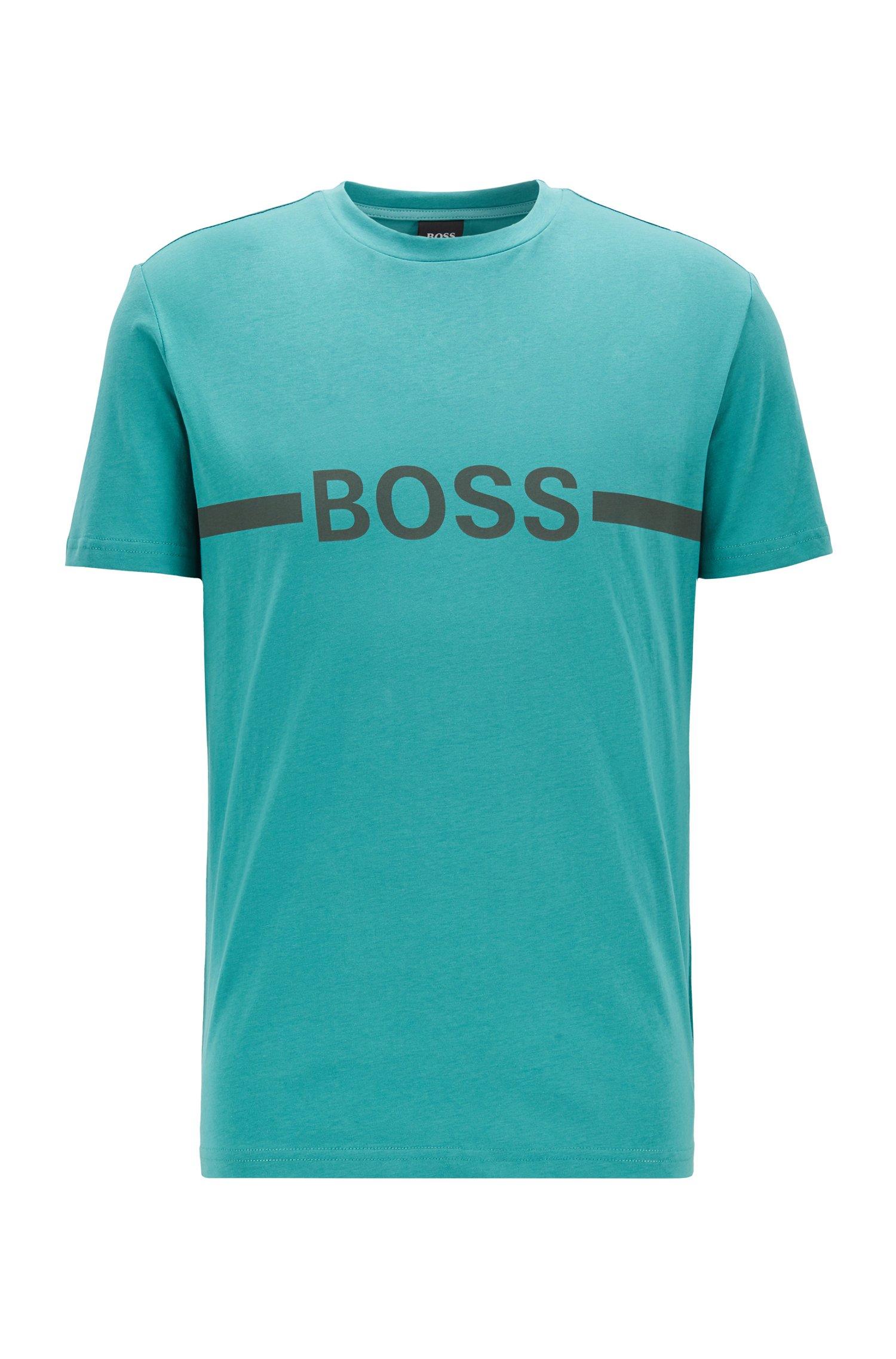 Slim-Fit T-Shirt aus Baumwolle mit UV-Schutz, Türkis