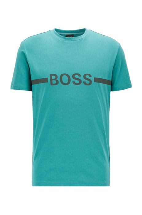 Slim-fit T-shirt in UPF 50+ cotton with logo, Turquoise