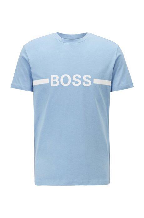 Slim-Fit T-Shirt aus Baumwolle mit LSF50+ und Logo, Hellblau