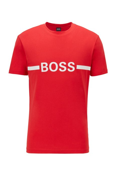 Slim-fit T-shirt in UPF 50+ cotton with logo, Red