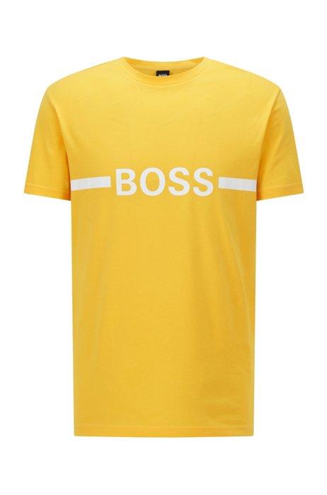 T-shirt slim fit in cotone con logo e finitura protettiva UPF 50+, Giallo