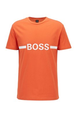 T-shirt Slim Fit en coton avec protection solaire, Orange