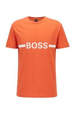 T-shirt Slim Fit en coton avec protection solaire, Orange