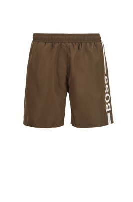 Logo-print swim shorts in recycled fabric, Khaki