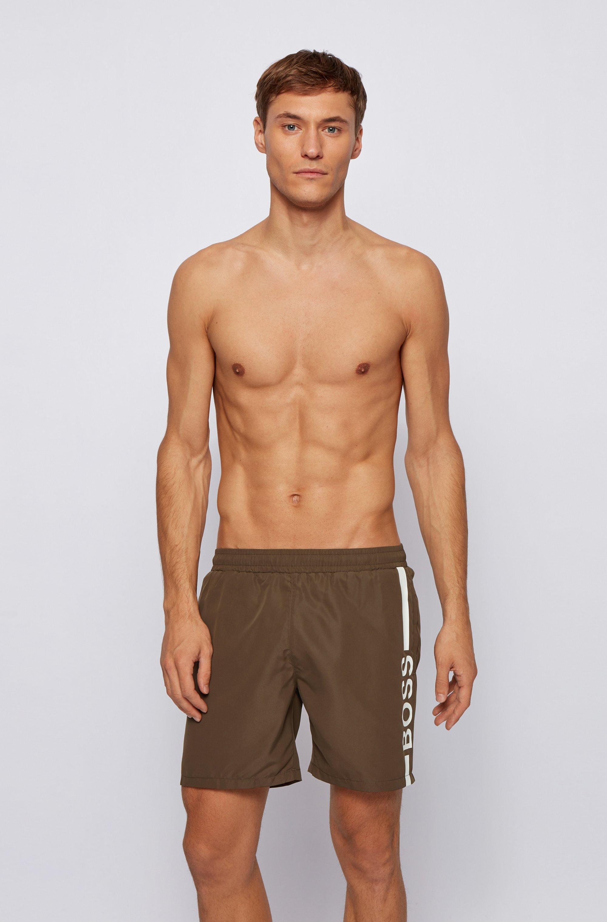 Logo-print swim shorts in recycled fabric