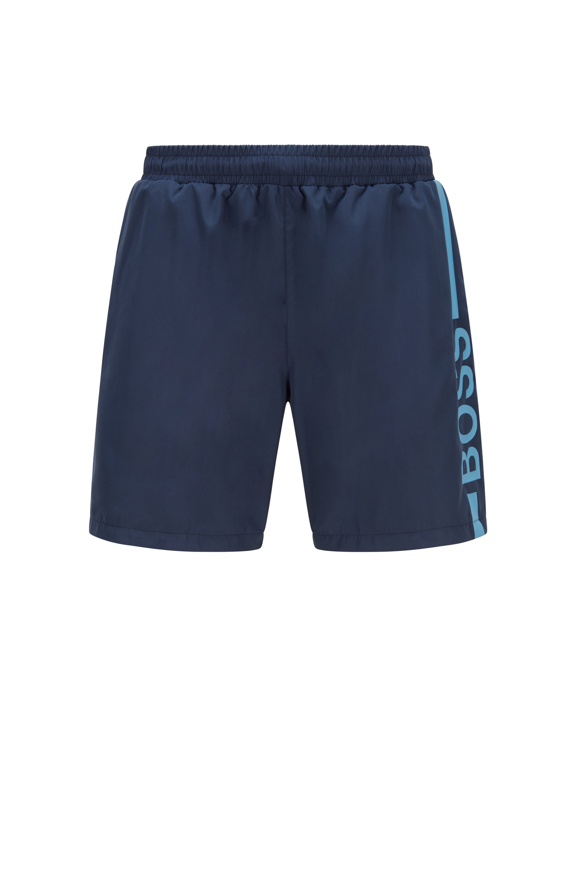Logo-print swim shorts in recycled fabric, Dark Blue