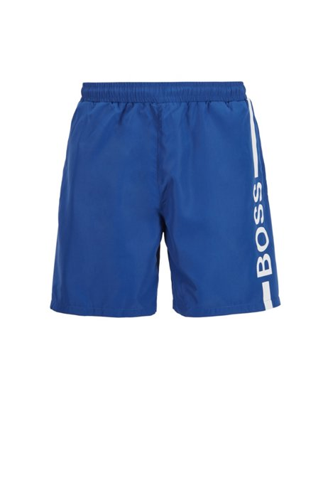 Logo-print swim shorts in recycled fabric, Blue