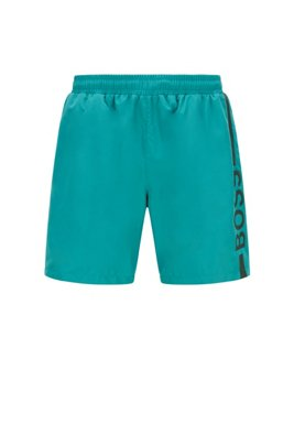 Logo-print swim shorts in recycled fabric, Turquoise