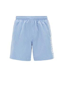 Logo-print swim shorts in recycled fabric, Light Blue