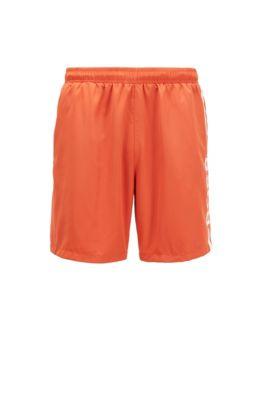 Short de bain en tissu recyclé à logo imprimé, Orange