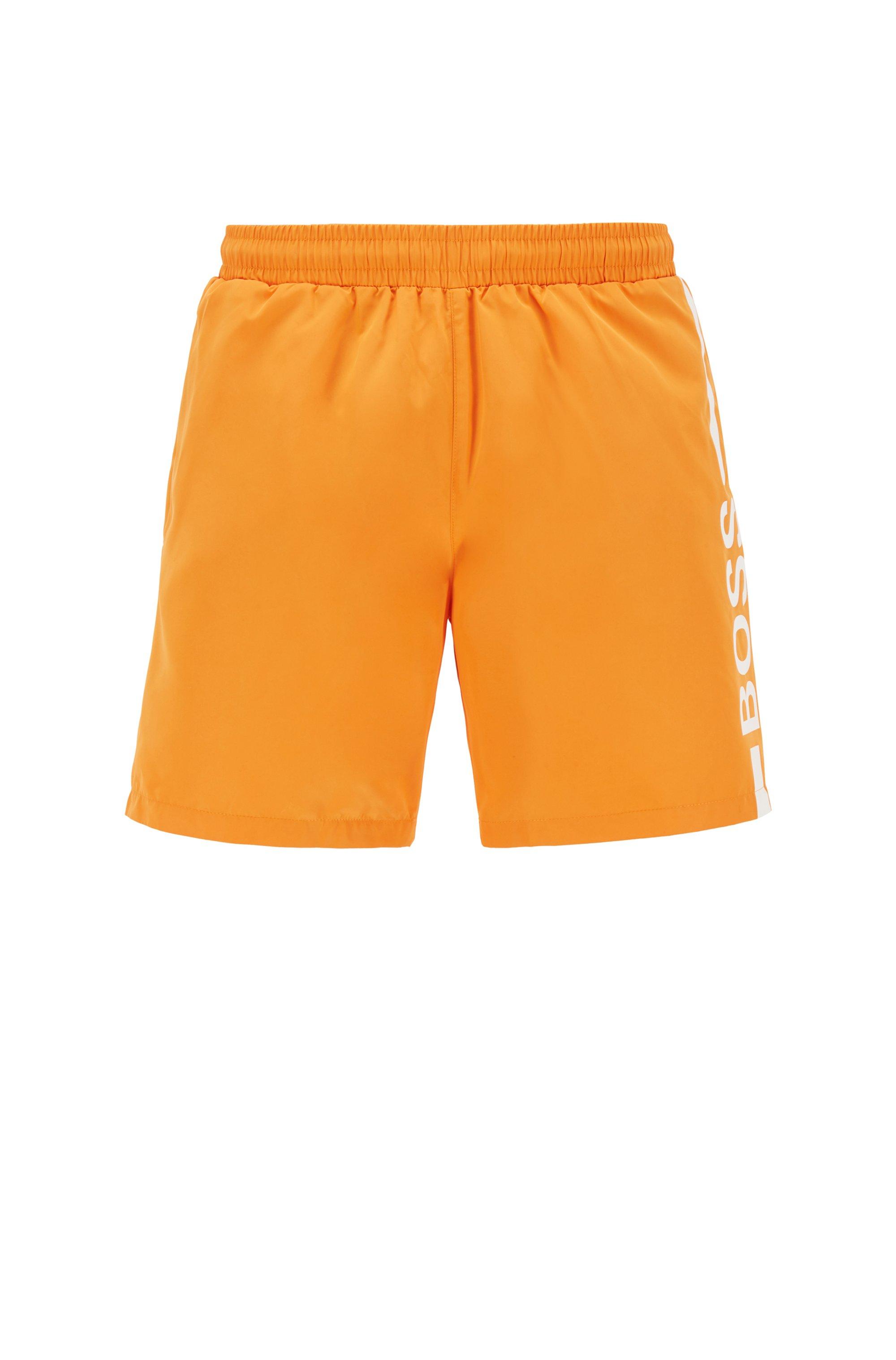 Logo-print swim shorts in recycled fabric, Orange