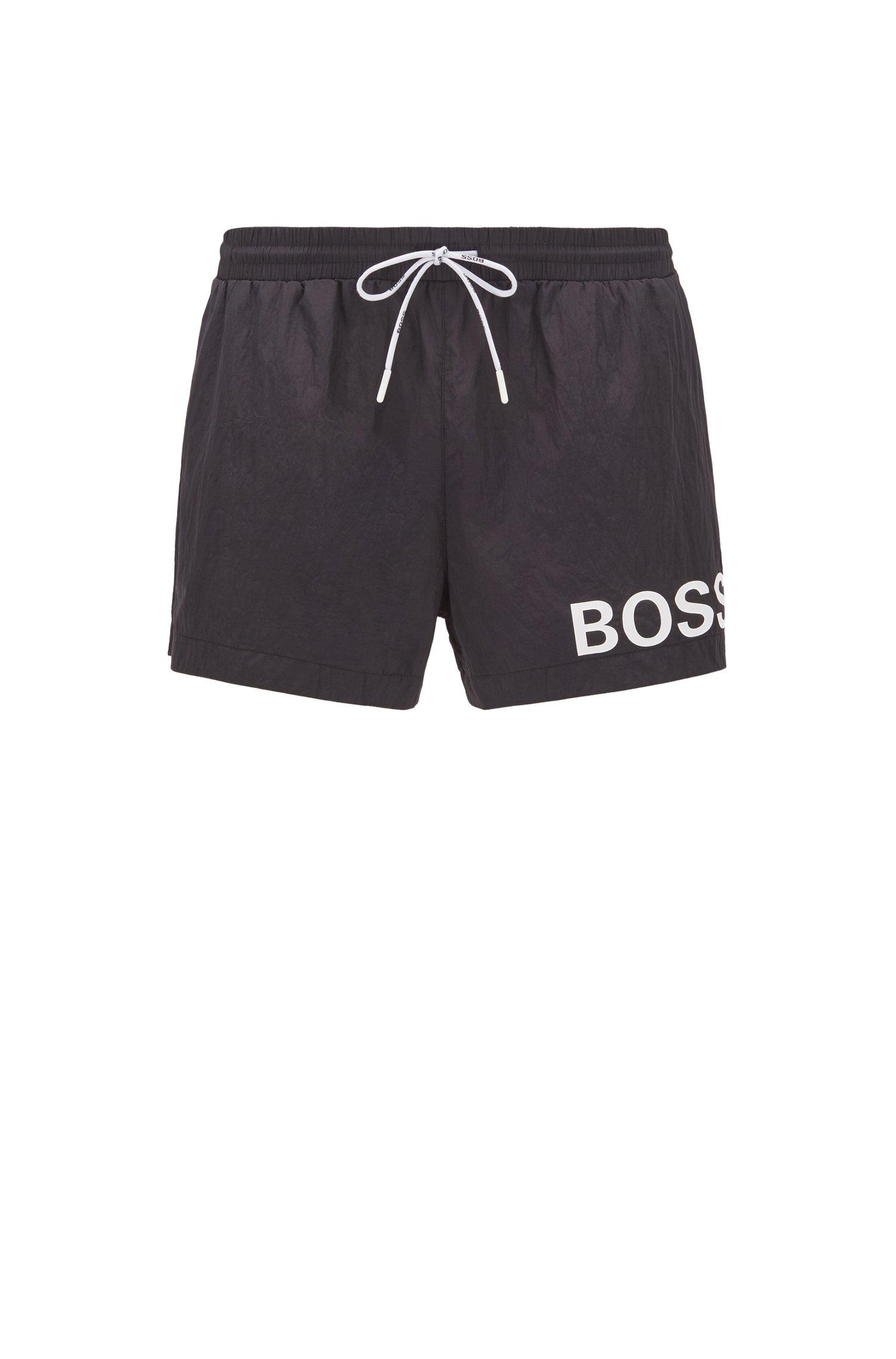 Kurze Badeshorts aus schnell trocknendem Gewebe mit Logo, Schwarz
