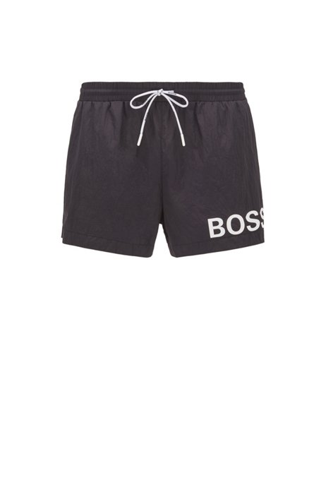 Short-length logo swim shorts in quick-dry fabric, Black