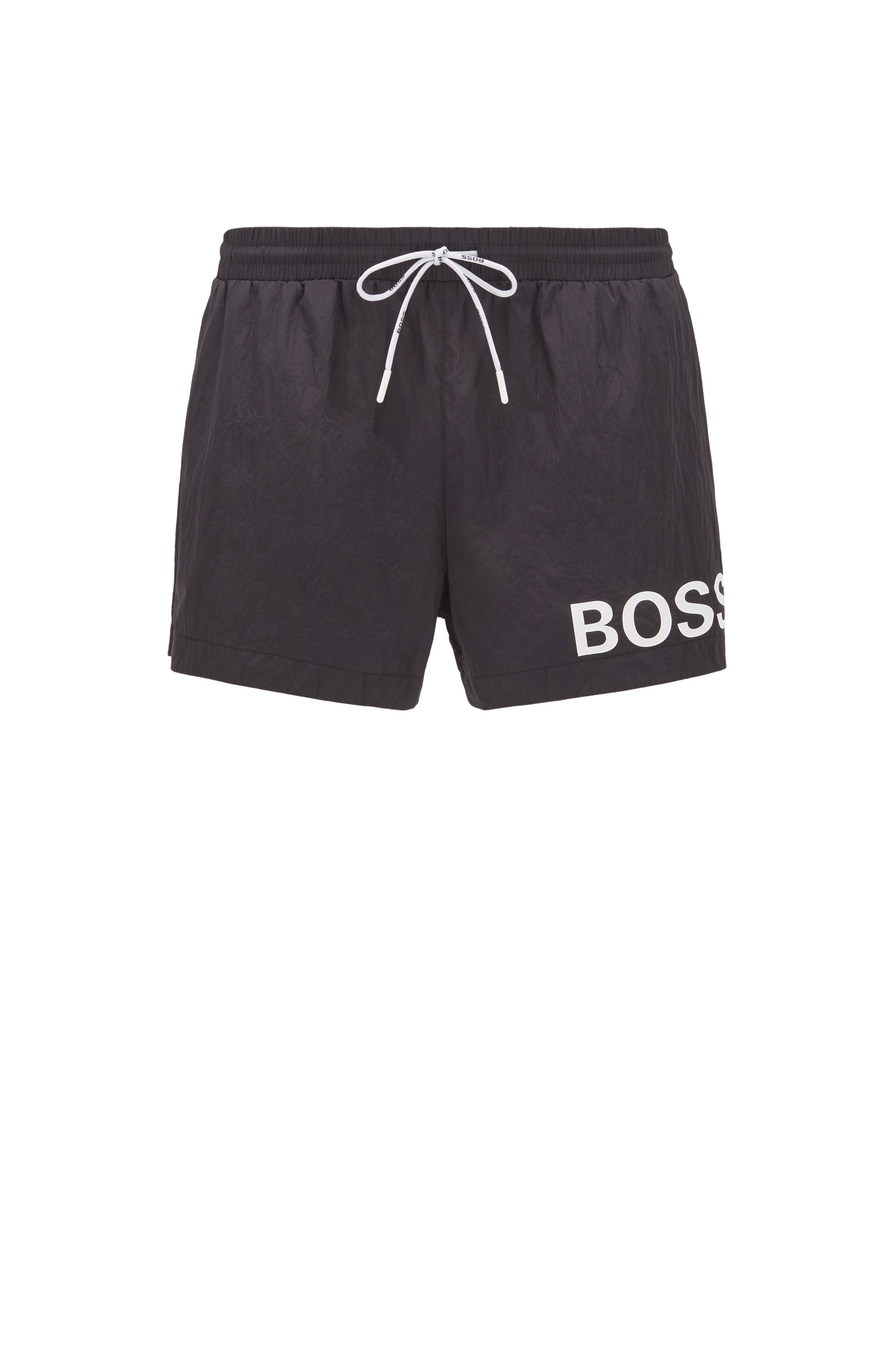 Short-length logo swim shorts in quick-dry fabric, Black
