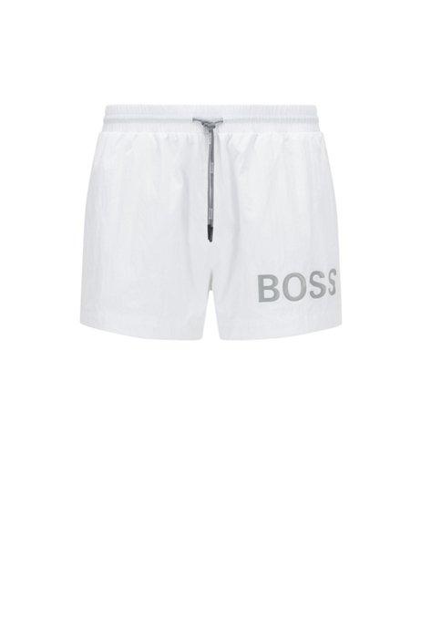 Kurze Badeshorts aus schnell trocknendem Gewebe mit Logo, Weiß