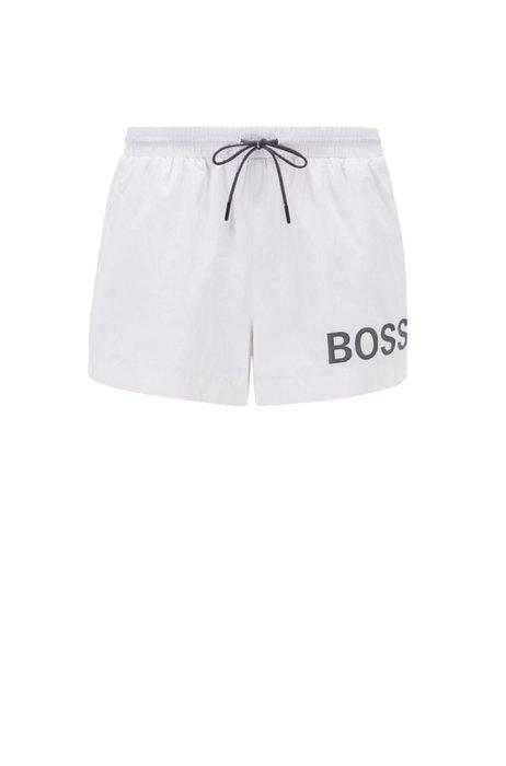 Short-length logo swim shorts in quick-dry fabric, White