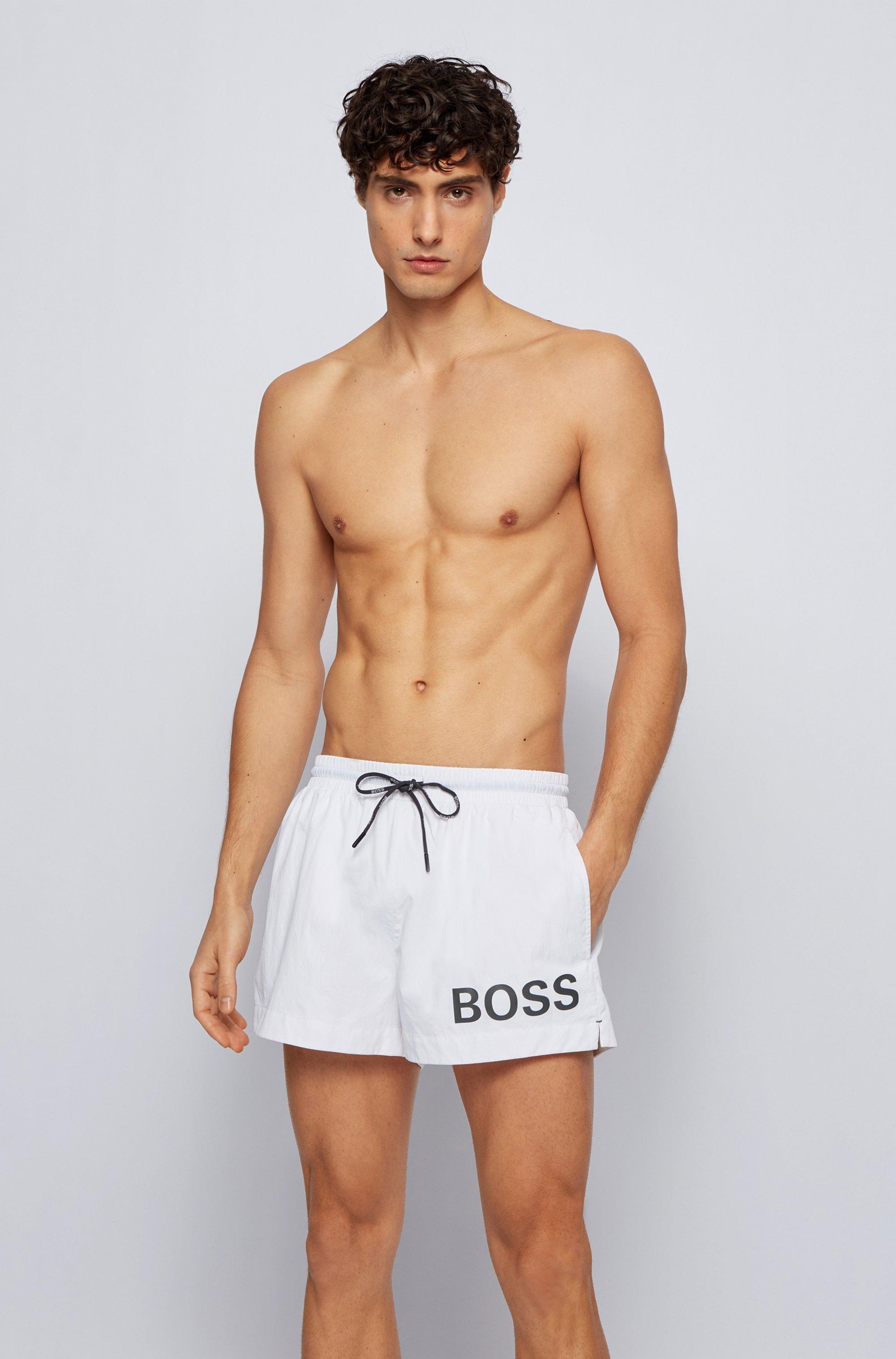 Short-length logo swim shorts in quick-dry fabric