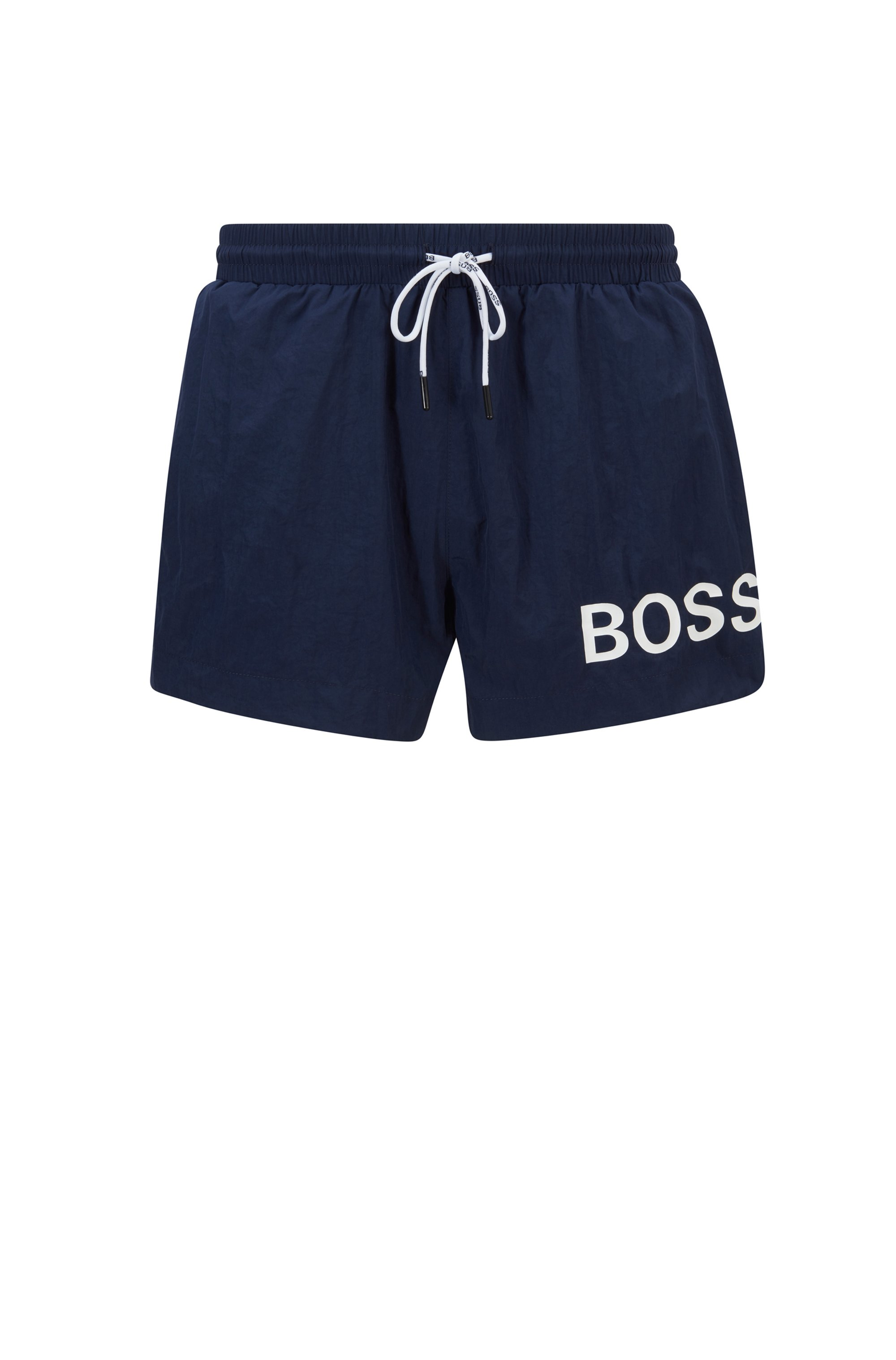 Short-length logo swim shorts in quick-dry fabric, Dark Blue
