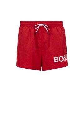Short-length logo swim shorts in quick-dry fabric, Red