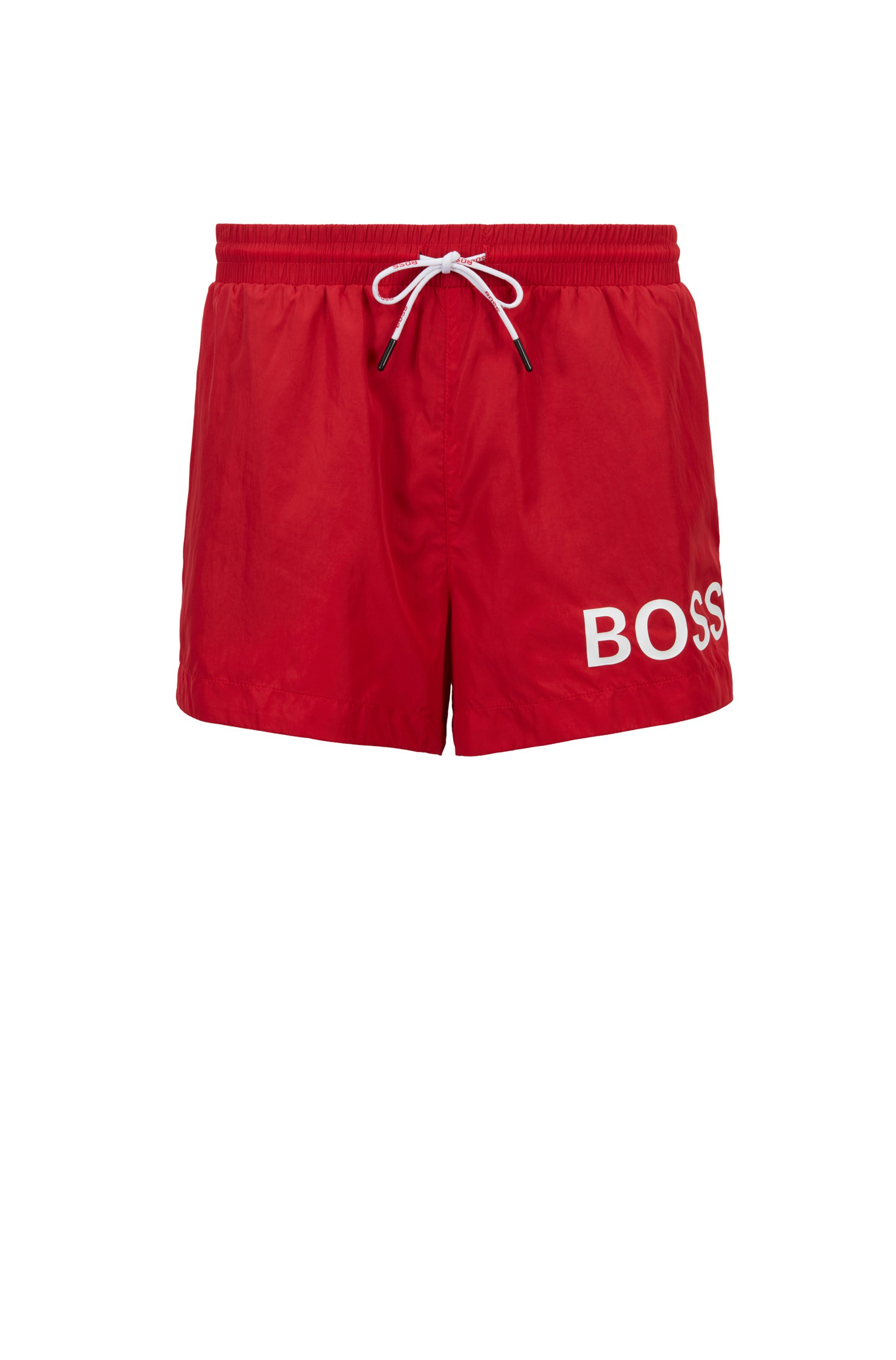 Short-length logo swim shorts in quick-dry fabric, Red