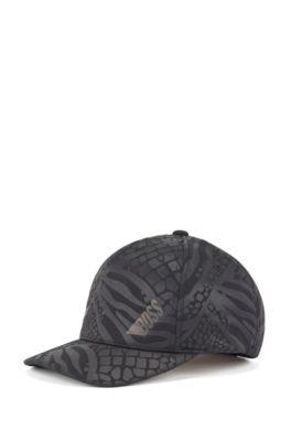 Cappellino con logo in jersey lavorato a nido d'ape con motivo stampato a impressione, Nero