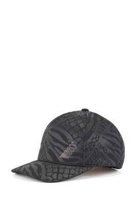 Logo cap in honeycomb-structured jersey with debossed pattern, Black