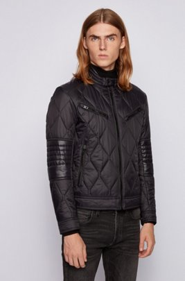 Slim-fit quilted jacket with water-repellent finish, Black