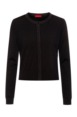 Cardigan Regular Fit en laine vierge à passepoils brillants, Noir