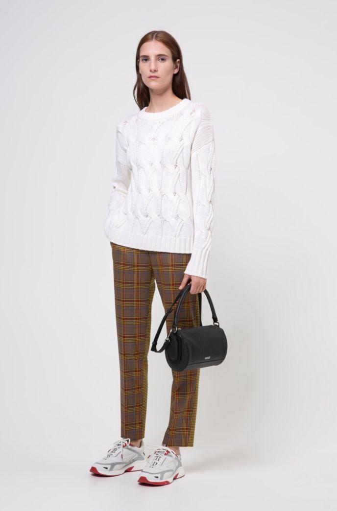 Pullover aus Schurwolle mit grobem Zopfmuster