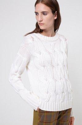 Pullover aus Schurwolle mit grobem Zopfmuster, Weiß