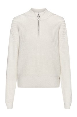 Zip-neck sweater in a cropped length, White