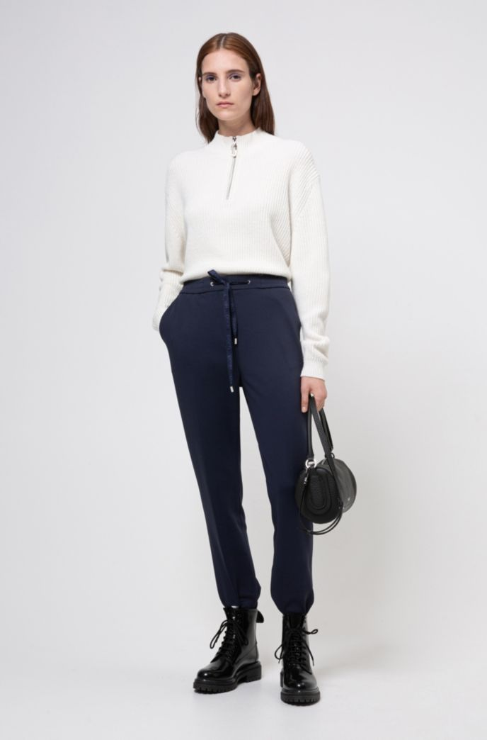 Zip-neck sweater in a cropped length
