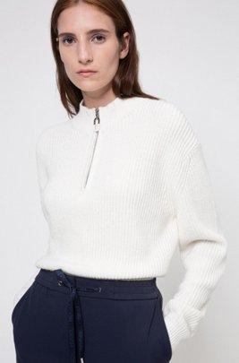 Pullover in Cropped-Länge mit Troyerkragen, Weiß