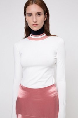 Sustainable-yarn sweater with striped multiway collar, White