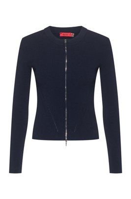 Slim-fit knitted jacket with two-way zip, Light Blue