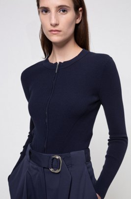 Slim-fit knitted jacket with two-way zip, Dark Blue