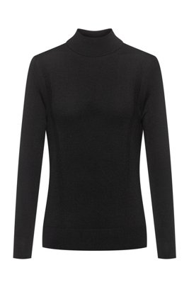 Virgin-wool mock-neck sweater with metal logo , Black
