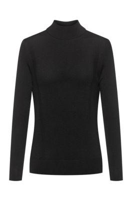 Virgin-wool mock-neck sweater with metal logo , Black