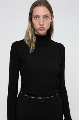 Pullover aus Schurwolle mit Stehkragen und Metall-Logo , Schwarz