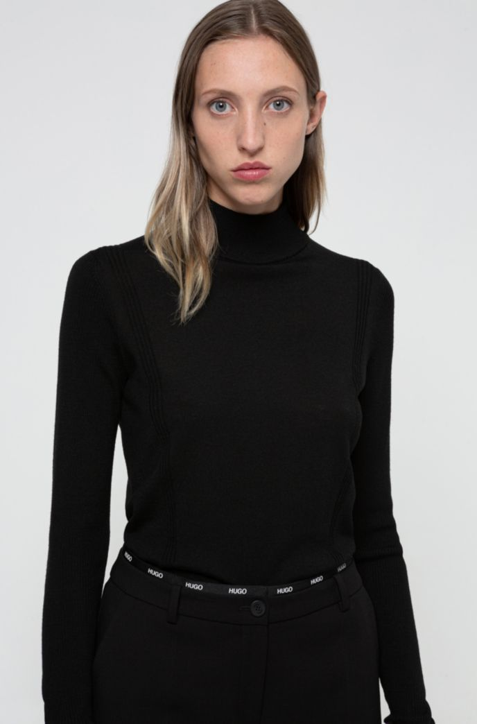 Virgin-wool mock-neck sweater with metal logo