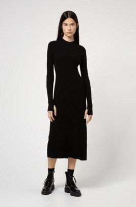 Long-sleeved mixed-knit dress with thumbholes, Black