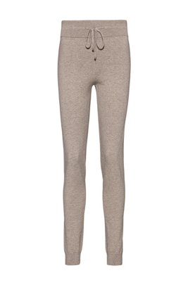 Regular-fit trousers in a knitted organic-cotton blend, Light Brown