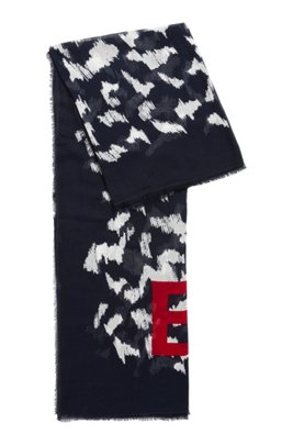 Lightweight scarf in cotton and modal with collection print, Patterned