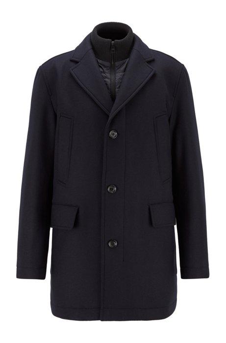 Manteau en laine mélangée à teneur en cachemire avec empiècement intérieur amovible, Bleu foncé