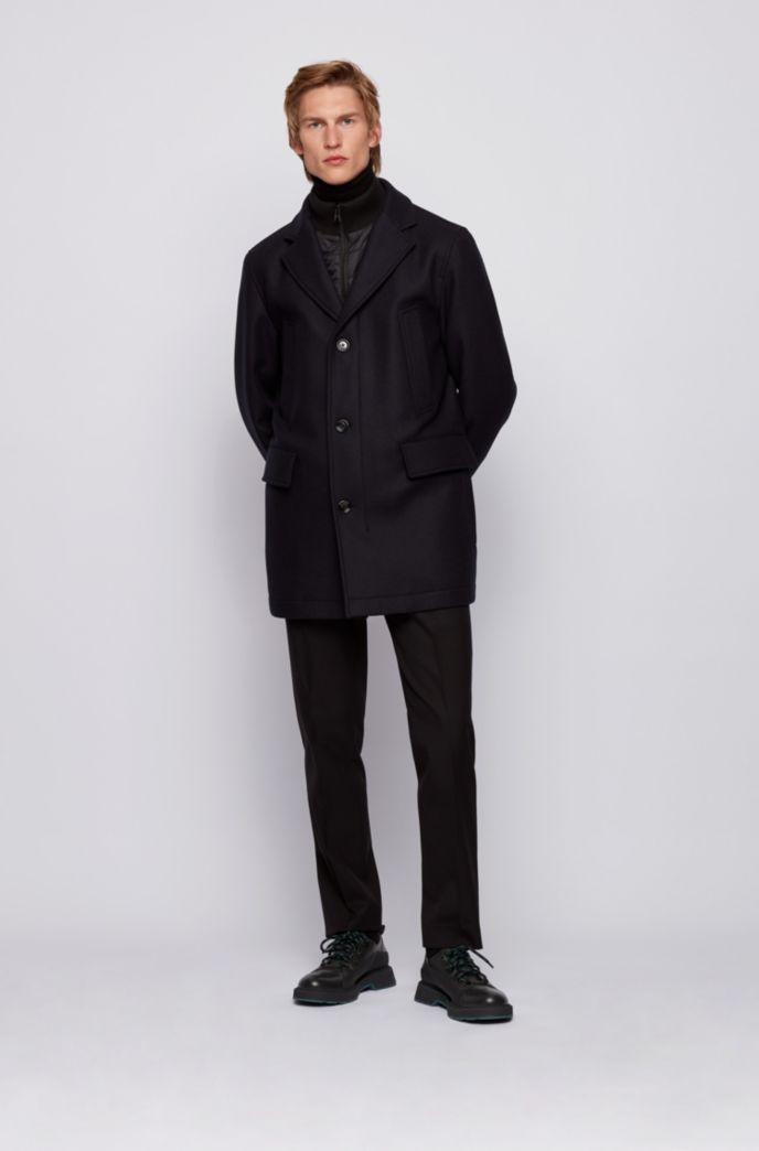 Coat in wool blend with cashmere and detachable inner