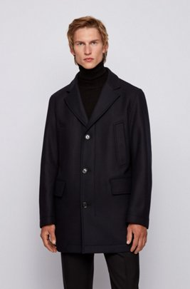 Coat in wool blend with cashmere and detachable inner, Dark Blue