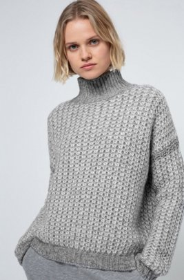 Rollneck sweater with two-tone knitted structure, Grey